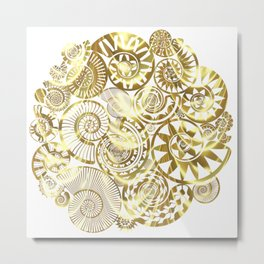 Ammonite Gold Metal Print