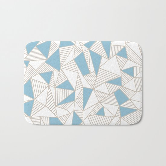 Ab Nude Lines with Blue Blocks Bath Mat