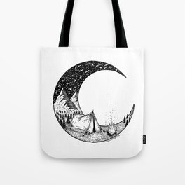 Camping on the moon Tote Bag