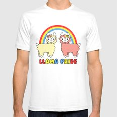 Cute Kawaii Llama Pride Rainbow SMALL White Mens Fitted Tee