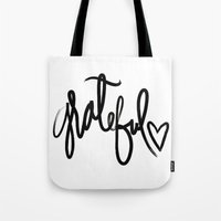 grateful dead Tote Bags featuring GRATEFUL by I Love Decor