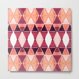 Art Deco Triangles Orange Metal Print