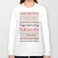 preppy Long Sleeve T-shirts featuring Aztec Spring Time! | Girly Pink White Floral Abstract Aztec Pattern by Girly Trend