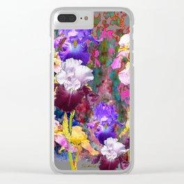 Decorative Spring Grey Iris Yellow & Pink Garden Clear iPhone Case
