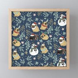 Christmas Pugs Framed Mini Art Print