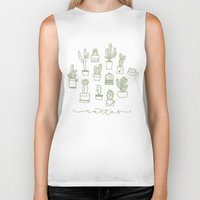 cactus Biker Tanks featuring Cactus  by Chee Sim