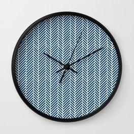 Herringbone Navy Inverse Wall Clock