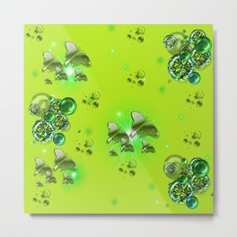 Greenery - Butterflies and Bubbles Metal Print