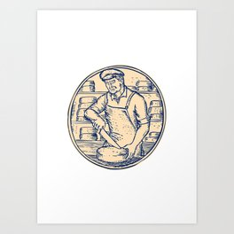 Cheesemaker Cutting Cheddar Cheese Etching Art Print