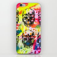 ultraviolence iPhone & iPod Skins featuring Ultraviolence 4i skull - mixed media on canvas by kakin