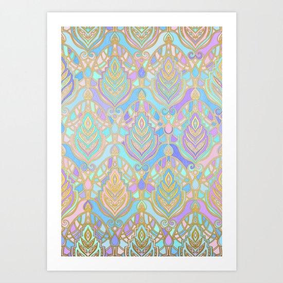Jade & Blue Enamel Art Deco Pattern Art Print