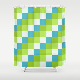 Apples and Pears - Pixelated Pattern with blues and green  Shower Curtain