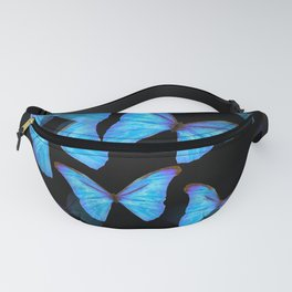 Turquoise Blue Tropical Butterflies Black Background #decor #society6 #buyart Fanny Pack