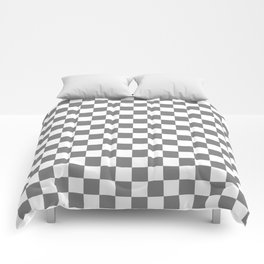 Small Checkered - White and Gray Comforters