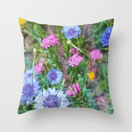 Cornflower Party Throw Pillow