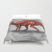 muscle Duvet Covers featuring Parasaurolophus Muscle Study by Rushelle Kucala Art