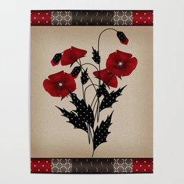 Flowers Art Poppies. Patchwork Poster