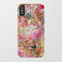 Summer Flowers | Colorful Watercolor Floral Pattern Abstract Sketch iPhone Case