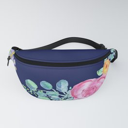 light pink peonies with navy background Fanny Pack