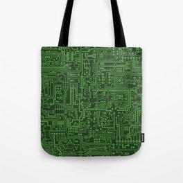 Circuit Board // Light on Dark Green Tote Bag