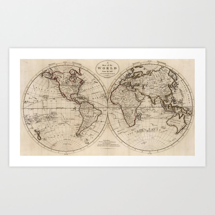 Old Fashioned World Map (1795) Art Print by bravuramedia | Society6
