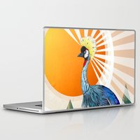 crane Laptop & iPad Skins featuring Crowned Crane by Sandra Dieckmann