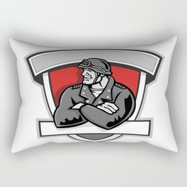 Angry Biker Arms Crossed Shield Rectangular Pillow