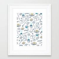 breakfast Framed Art Prints featuring BreakfasT by Ceren Aksu Dikenci