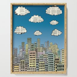 The city of paper clouds Serving Tray