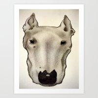 bull terrier Art Prints featuring Bull Terrier by Caroline Blicq