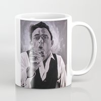 johnny cash Mugs featuring Johnny Cash Portrait by M Oliveira