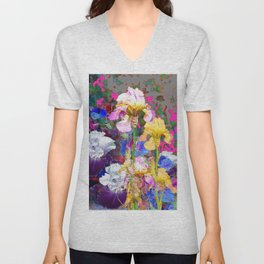 PINK-YELLOW PURPLE IRIS GARDEN GREY ART Unisex V-Neck