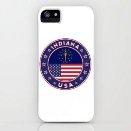 Indiana, Indiana t-shirt, Indiana sticker, circle, Indiana flag, white bg iPhone Case