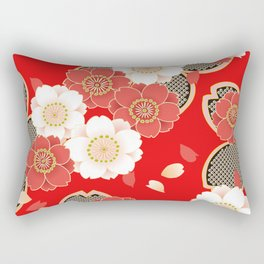 Japanese Vintage Red Black White Floral Kimono Pattern Rectangular Pillow