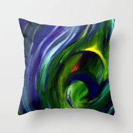 Deep Water Feather Throw Pillow