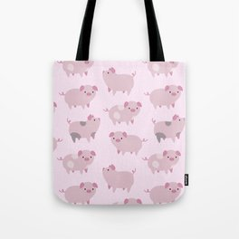 Cute Pink Piglets Pattern Tote Bag
