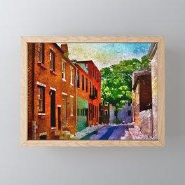 Fells Point Street, Historic Row Houses, Baltimore, Maryland  Framed Mini Art Print