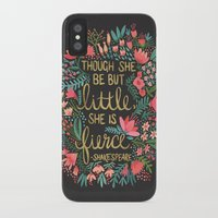 night iPhone & iPod Cases featuring Little & Fierce on Charcoal by Cat Coquillette