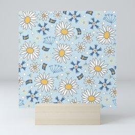 swedish summer flowers and flags Mini Art Print