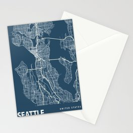 Seattle Blueprint Street Map, Seattle Colour Map Prints Stationery Cards