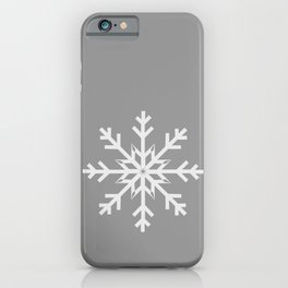 Light Gray Snowflake on Silver Gray iPhone Case