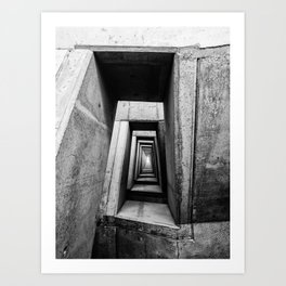 Labyrinth Illusion Black and White Abstract Art Art Print