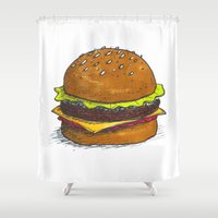 burger Shower Curtains featuring Burger by RedNoseBlueCheeks