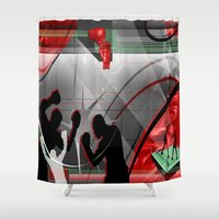 boxing Shower Curtains featuring Boxing by Robin Curtiss