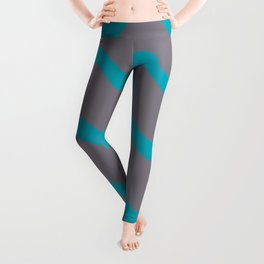Teal and Grey Wavy Horizontal Stripe Pattern 2021 Color of the Year AI Aqua and Good Gray Leggings