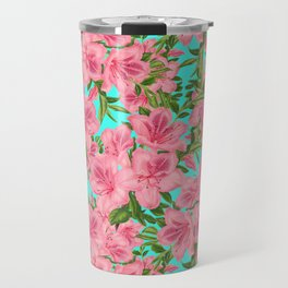 Azaleas on Aqua Travel Mug