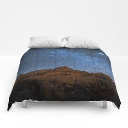 Starry Night: Brilliant Blue Stars Behind Rocky Mountain Comforters