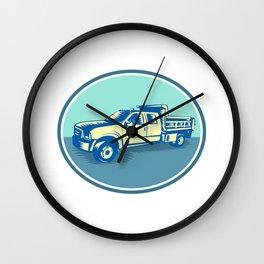 Tipper Pick-up Truck Oval Woodcut Wall Clock
