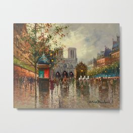 Cathedral Notre-Dame, Paris at Twilight by Antoine Blanchard Metal Print