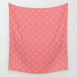 Cotton Candy Pink on Coral Pink Snowflakes Wall Tapestry